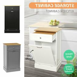 Kitchen Storage Cabinet Cupboard W/ Bamboo Trash Can Holder