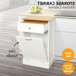 Kitchen Storage Cabinet Cupboard Wood Bamboo Trash Can Holde