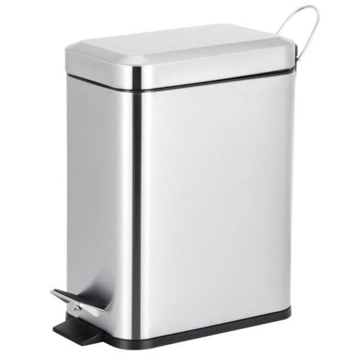 Stainless 5L Steel Trash Can Household Pedal Wastebasket Ash