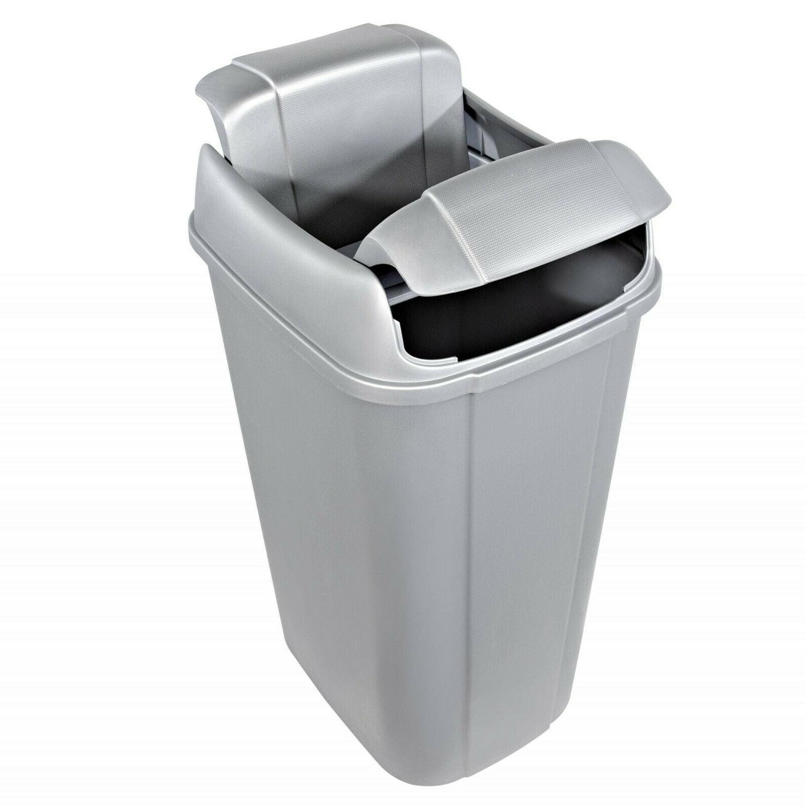 13.3-gallon Hefty Pivot Trash Can, Silver Decorative Texture