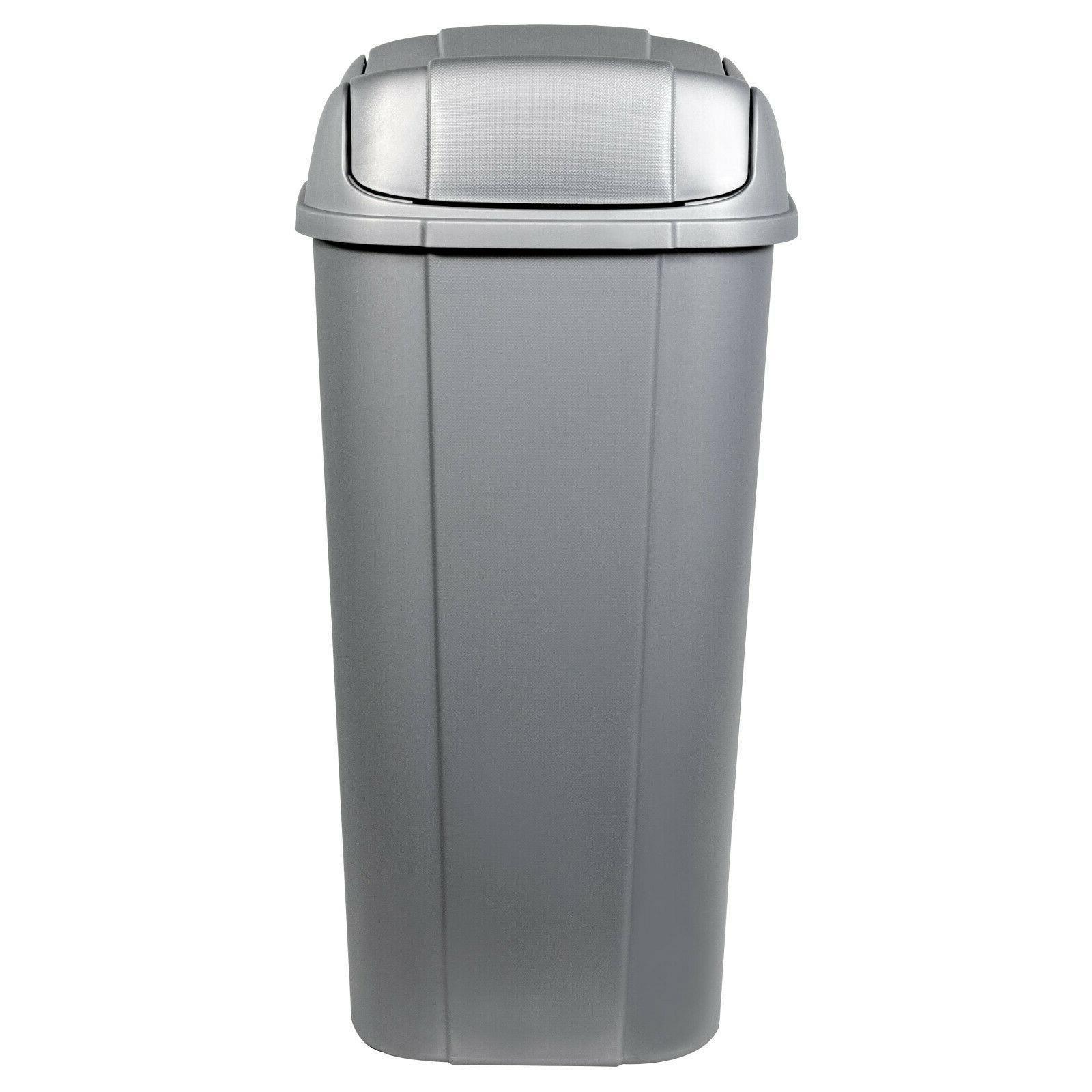 13.3-gallon Hefty Pivot Lid Trash Silver with Decorative Texture