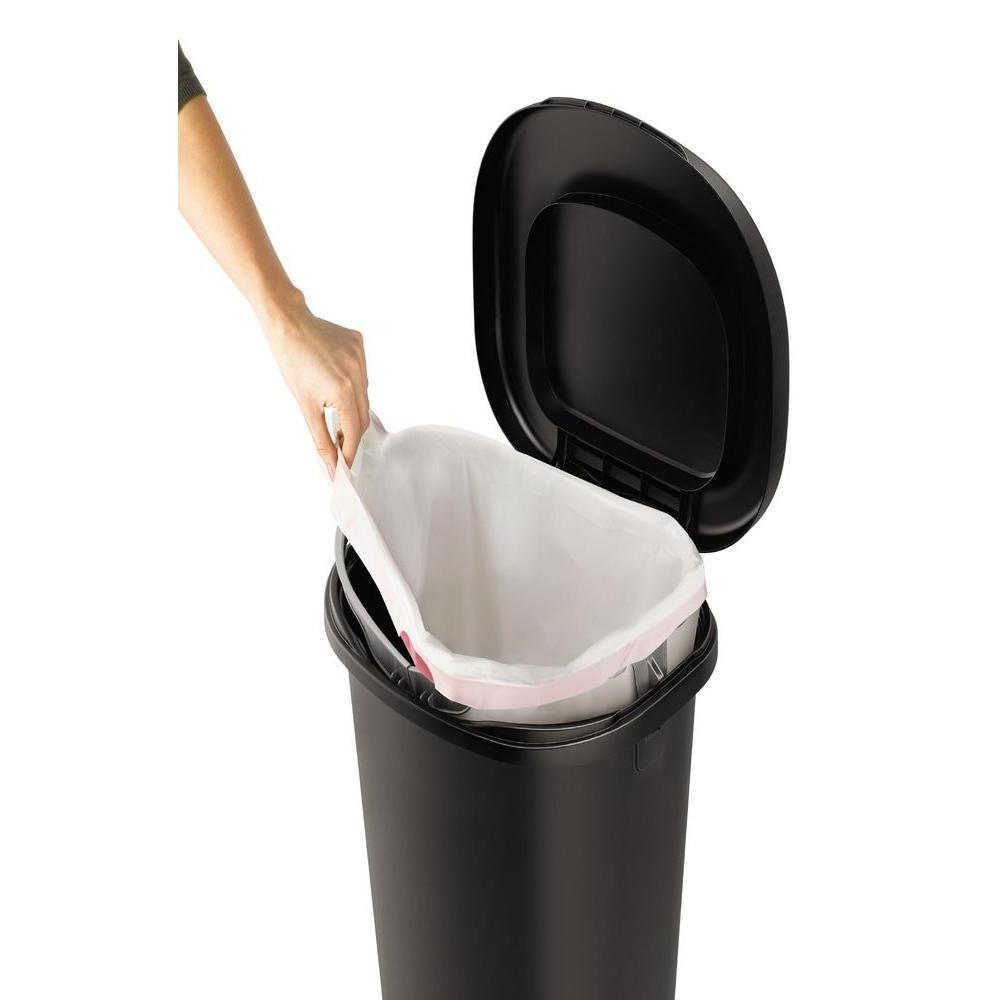Rubbermaid 13 Gal. Black Hands-Free Step-On Trash Can with S