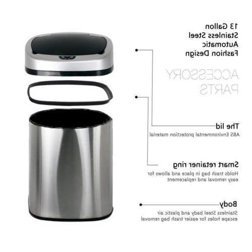 Auto Stainless-Steel Trash Can Touch-Free Kitchen Pin New