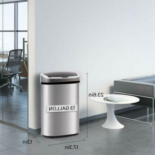 13-Gallon Touch-Free Automatic Stainless-Steel Trash 50R