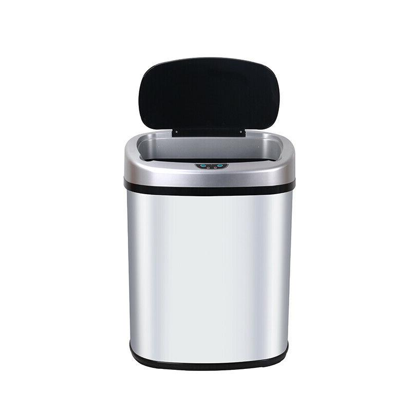 New 13-Gallon Sensor Automatic Touchless Trash Can Office Ash