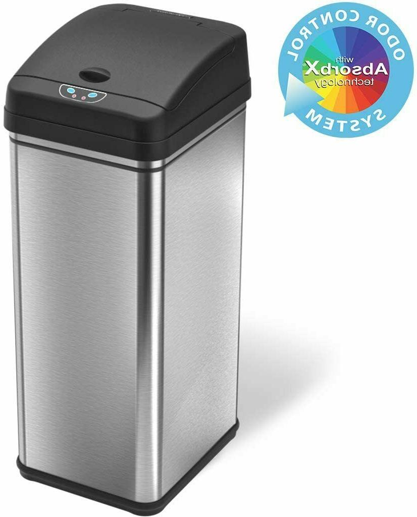 iTouchless 13 Gallon Touchless Sensor Kitchen Trash Can, Sta