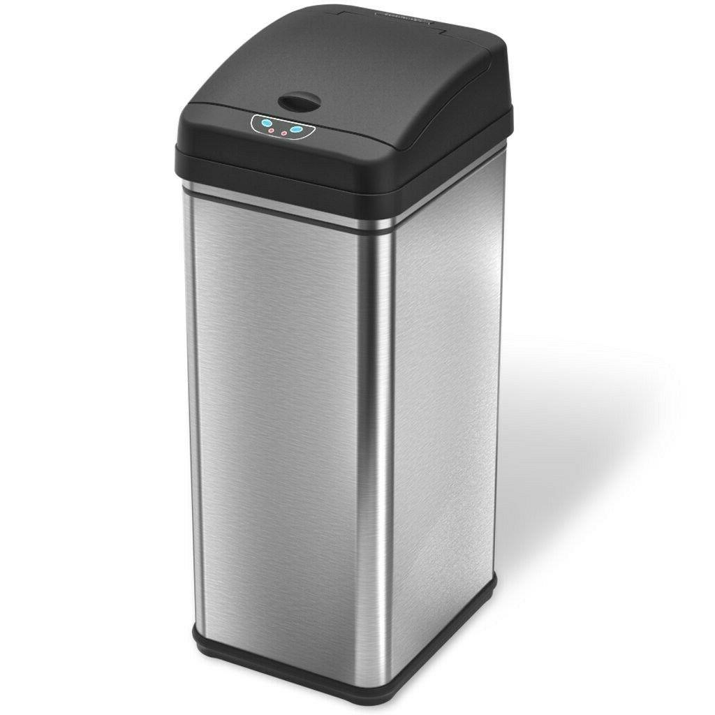13 gallon trash can with lid automatic