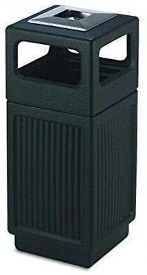 Trash Can 15 Gal Black Outdoor Indoor Large Garbage Waste Wi