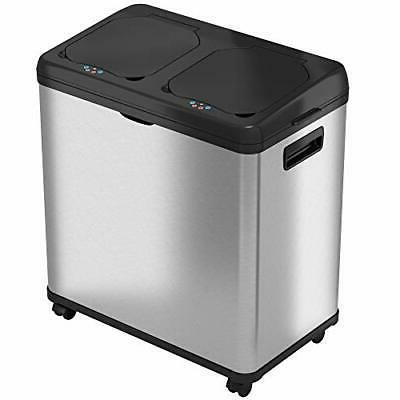 16 gallon touchless trash can and recycle