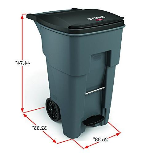 Rubbermaid Step-On Rollout 65 L, Height, Width,
