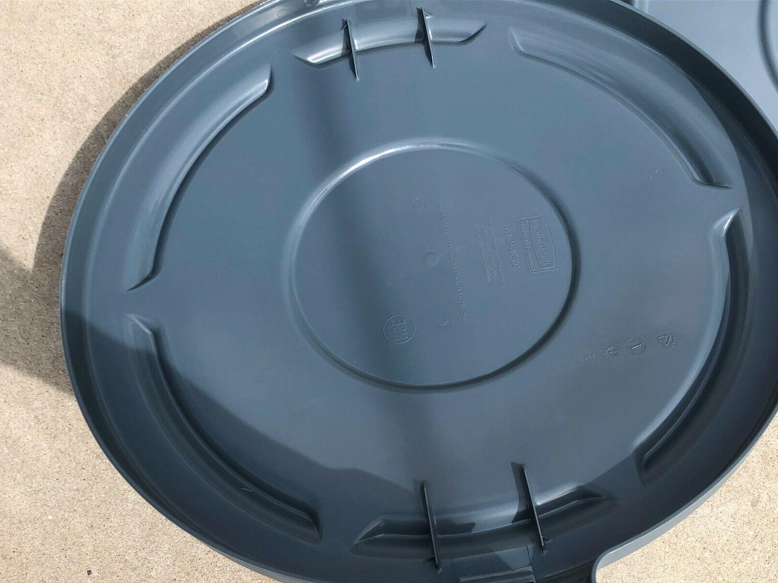 2 Rubbermaid Trash Round, Gray, 44 Gallon, Gray,