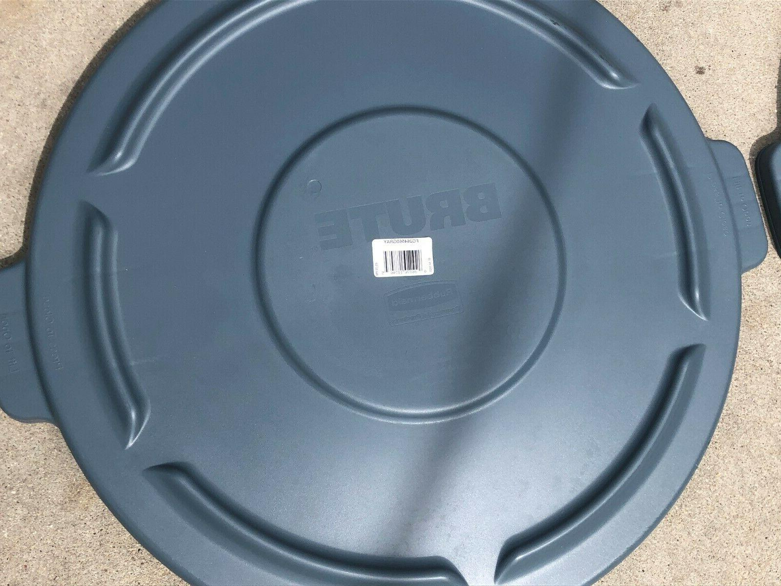 2 Rubbermaid Commercial BRUTE Trash Round, Gray,