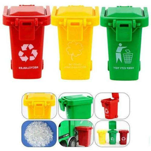 3Pcs/Set Trash Can Toy Garbage Truck Can Original Color Curb