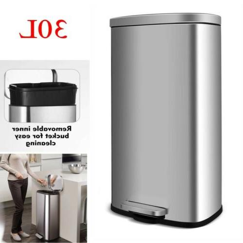 30l 8gallon stainless steel trash can rectangular