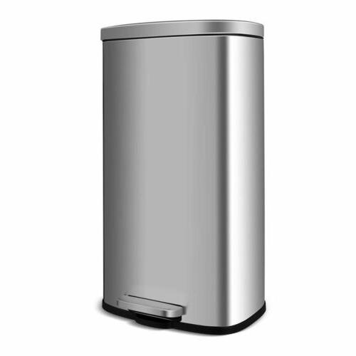 Kitchen Step Trash Can 8 Gallon Stainless Steel Garbage Can