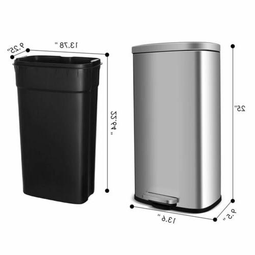 30L Stainless-Steel Trash Can and