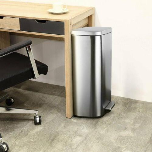 30L 8Gallon Stainless-Steel Trash Can Rectangular Garbage and