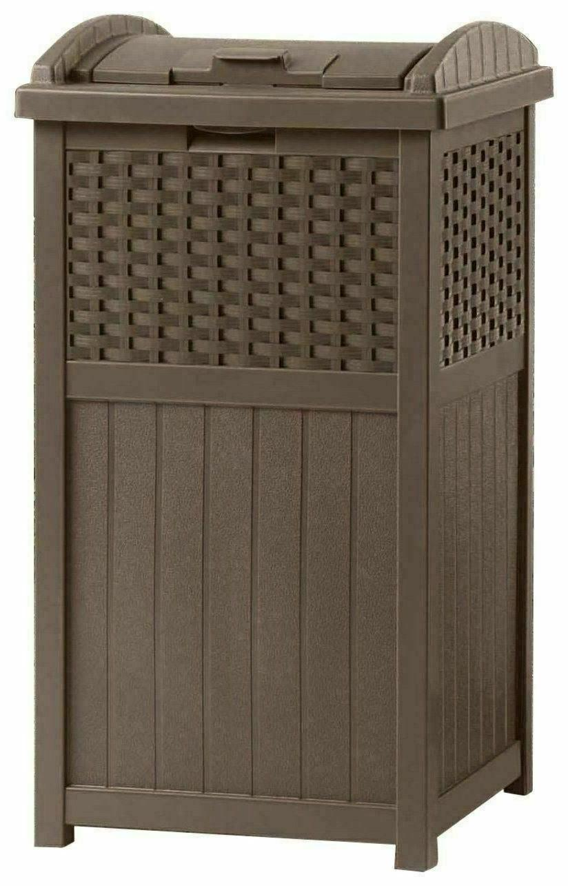 33 Gallon Outdoor Trash Can Garbage Bin with Deck Brown
