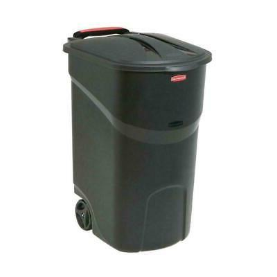 45 gal black wheeled trash can garbage