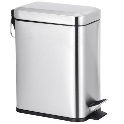 1.3 Gallon Stainless Steel Metal Step Trash Can Recycling Bi