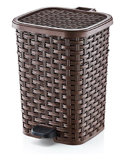 6.8-Gal. Rattan Style Compact Trash Can