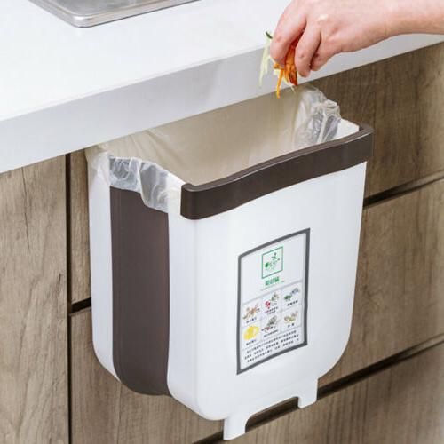 6L Wall Mounted Folding Waste Bin Kitchen Cabinet Door Bin