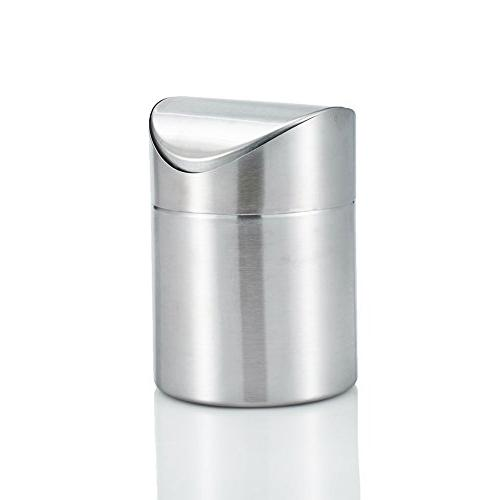 Amteker Mini Countertop Trash Can, Brushed Stainless Steel T