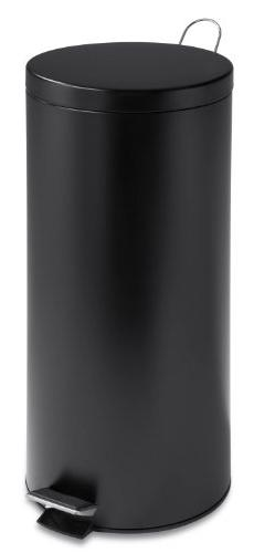 Honey-Can-Do 30-Liter Round Can with Bucket, Black Matte