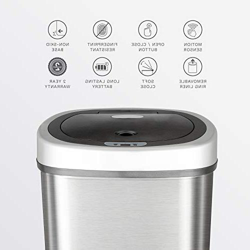 NINESTARS Infrared Motion Trash Can, 13 Stainless Base