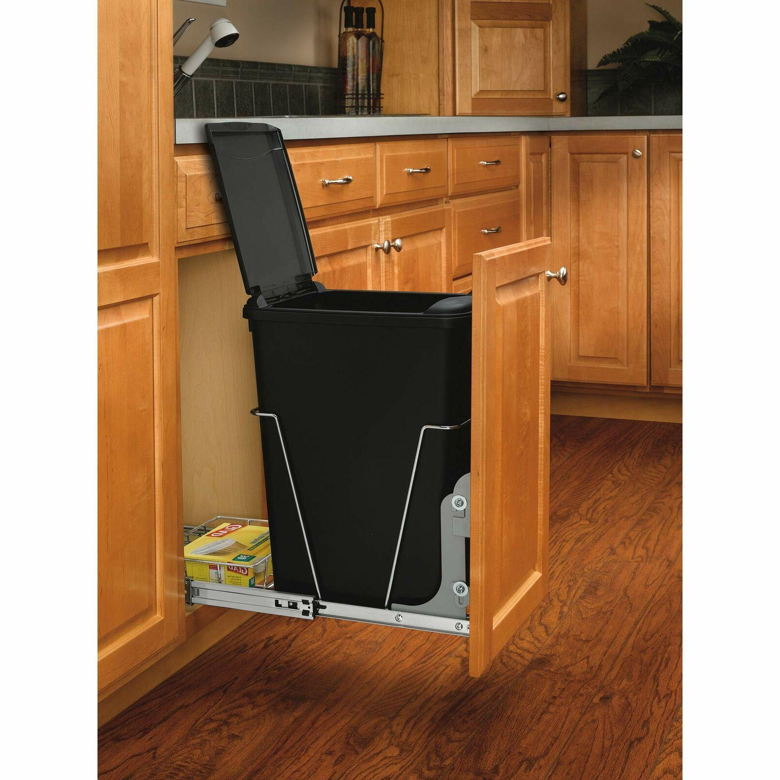 Rev-A-Shelf - RV-12KD-18C S - Single 35 Qt. Pull-Out Black a