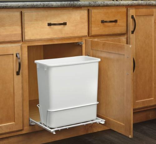 Rev-A-Shelf Single 20 White Waste with Adjustable