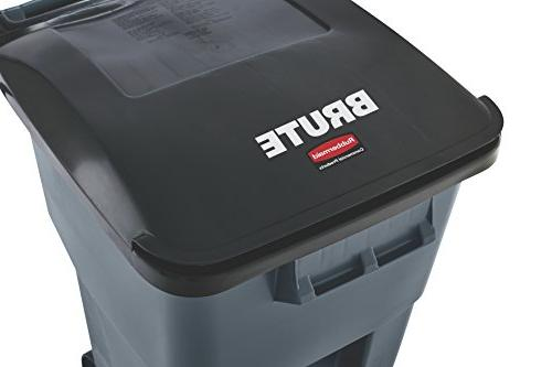 "Rubbermaid Brute Step-On Rollout Trash 65 gal/246 L, 44.740"" Height, Width, Gray"