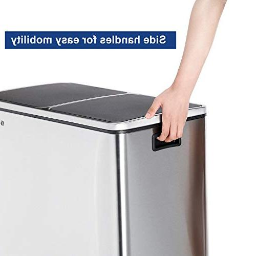 SONGMICS Gallon Step Trash Recycle Pedal Bin, 2 x 30L Garbage Bin Plastic Inner Carry Handles, Fingerprint Stainless Steel, ULTB60NL