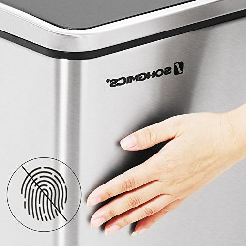 SONGMICS 16 Trash Can, Recycle Pedal Bin, 2 30L with Plastic Carry Fingerprint Stainless Slow ULTB60NL