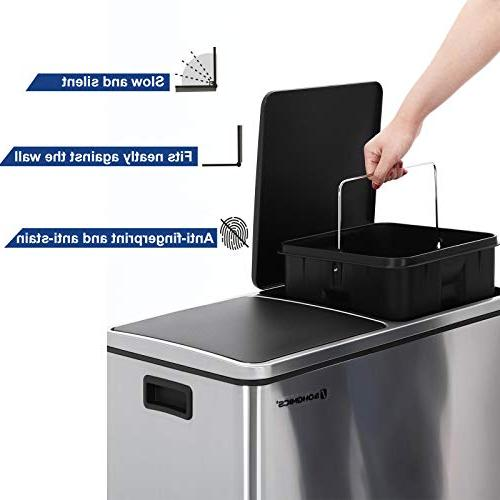 SONGMICS Trash Double Pedal Bin, 30L Garbage Bin with Plastic Inner Carry Handles, Fingerprint Proof Stainless Slow ULTB60NL