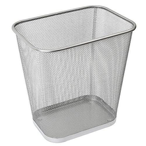 Ybmhome 2042 Steel Rectangular Mesh Trash Can, Silver