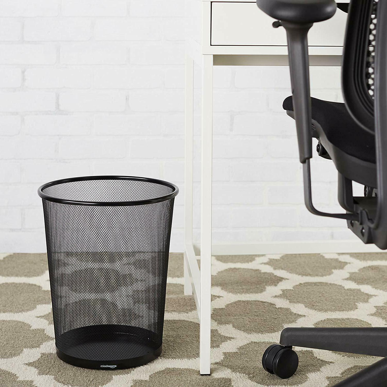 AmazonBasic Wastebasket Black Steel 6-Pack NEW