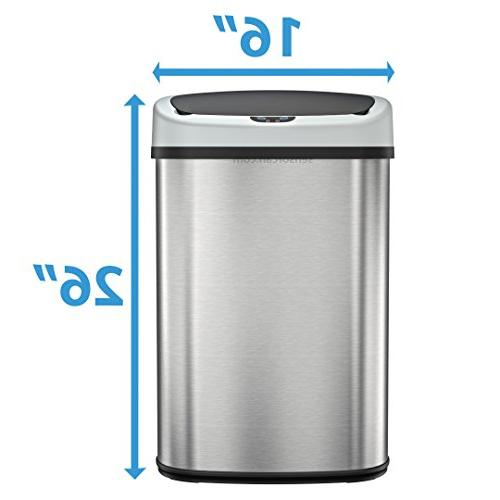 SensorCan Automatic Touchless Sensor with AC Adapter and Odor Kit, Oval Shape, 13 Gallon, Stainless Steel