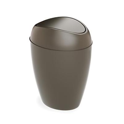 Umbra Twirla Trash Can with Swing-top Lid, 2.2 Gallon, Shado