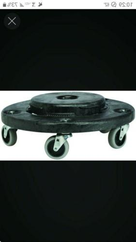 black wheeled refuse container dolly