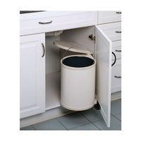 Built-In Single Round Pivot-out Metal Waste Containers-White