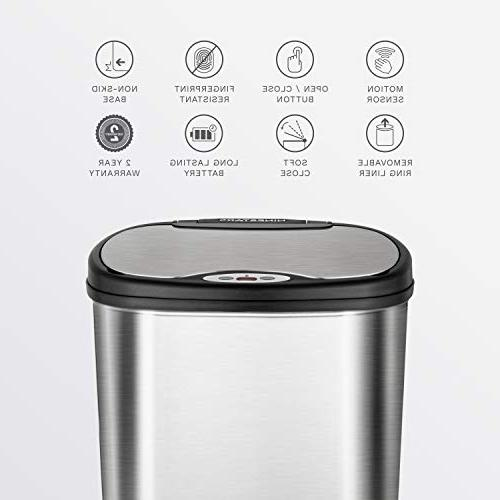 NINESTARS CB-DZT-50-13/12-9 Automatic Infrared Trash Can Combo 13 Gal 50L & Gal 12L, Stainless Steel Base