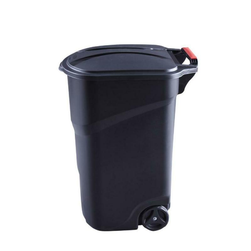 Classic Design Roughneck 45 Gal. Black Wheeled Trash Can wit
