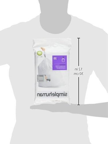simplehuman Code G Fit Drawstring Trash Bags, 8 100-Count