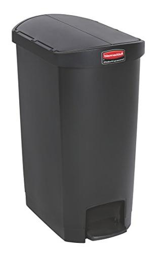 Rubbermaid Commercial Slim Jim Black 13g End Step Can - 13 G