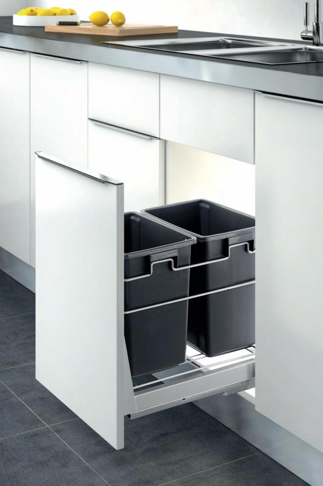 double container kitchen cabinet pull out trash