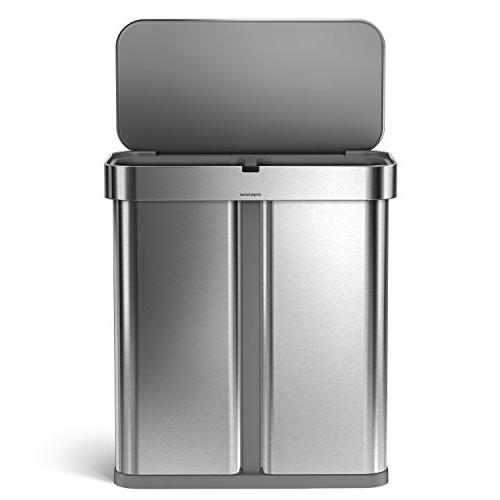simplehuman 58 Liter 15.3 Touch-Free Compartment Rectangular Kitchen Trash Can Recycler Sensor, Activated,