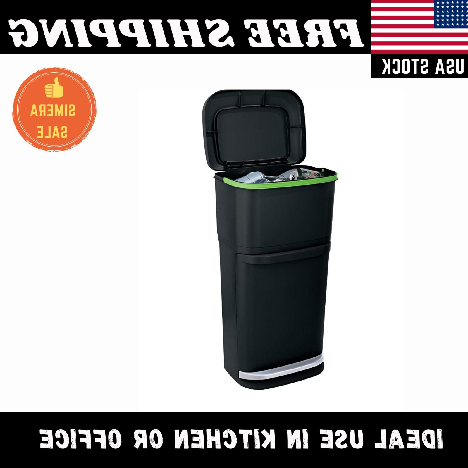 Dual Can 13 Gallon Step Plastic Rubbish Bin Buckets