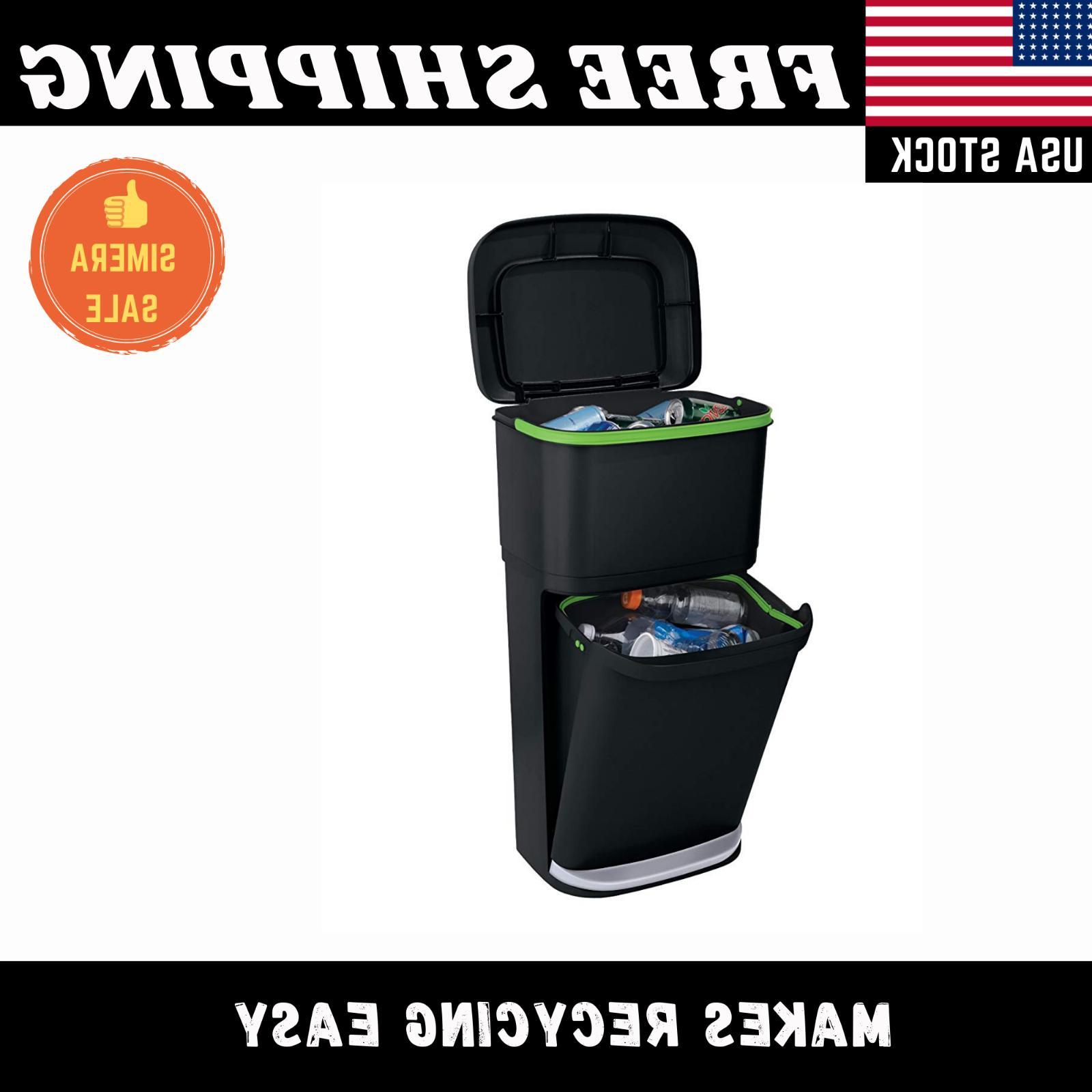 dual trash can 13 gallon pedal step