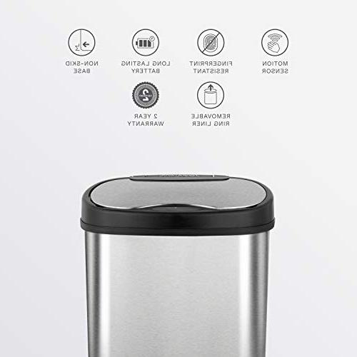 NINESTARS Touchless Infrared Can Gal 50L & Gal 12L, Stainless Steel Base